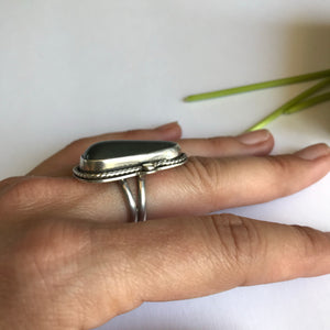 Beach stone sterling silver ring - size 6
