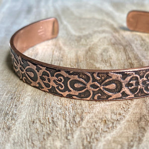 Art Nouveau - etched copper cuff