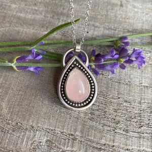 Rainbow drop - rose quartz and sterling silver pendant