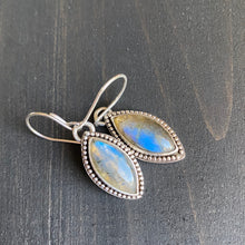 Load image into Gallery viewer, Labradorite marquise earrings - deep sky blue gemstones in sterling silver