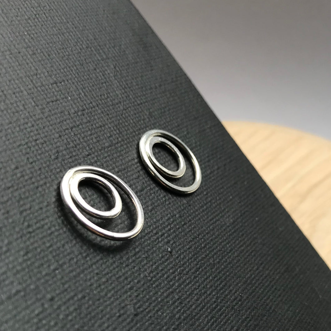 Double circle sterling silver earrings