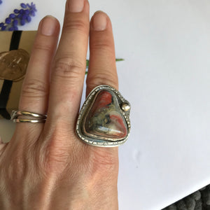 Chunky crazy agate and sterling silver ring - size 7.5