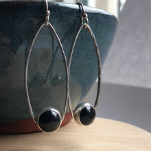 Load image into Gallery viewer, Bohemian sterling silver and black onyx dangle earrings