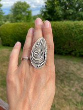 Load image into Gallery viewer, Art nouveau bohemian silver ring - size 6.5