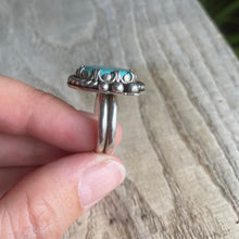 Load image into Gallery viewer, Blue bohemian turquoise and sterling silver ring - size 6.75