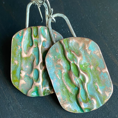 Desert oasis - copper and sterling silver dangle earrings