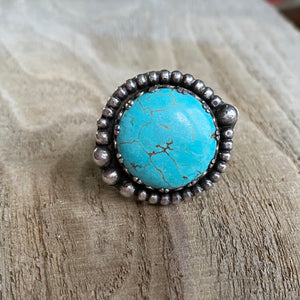 Blue waters turquoise and sterling silver ring - size 6
