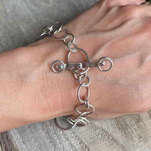 Bracelet - sterling silver circles forged