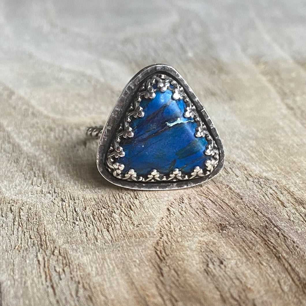 Blue jasper and sterling silver triangle ring - size 7