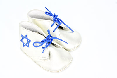 Leather White Lace Up With Star Of David