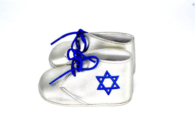 Silver Leather Lace Up With Star of David
