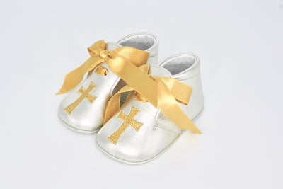 Silver Leather Gold Cross With Gold Ribbon Laces