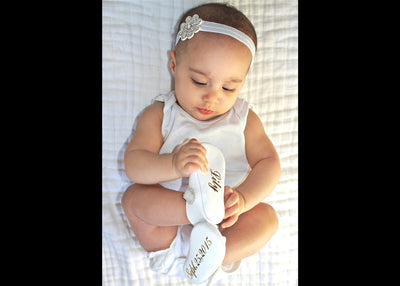 Our Classic NameDate Mary Jane Baby Shoes-White
