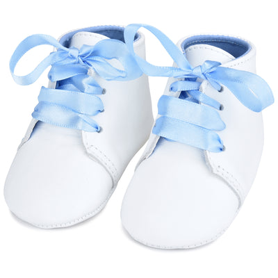 Personalized Leather Lace Up with Blue Ribbon Laces
