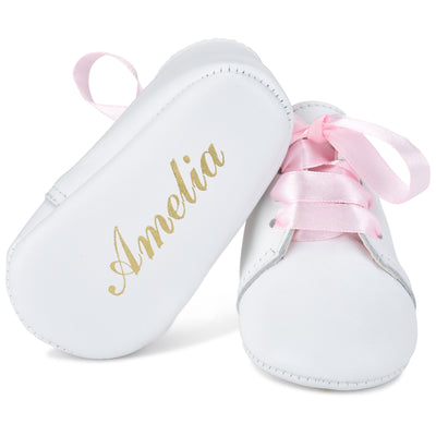 Personalized Leather Lace Up with Pink Ribbon Laces