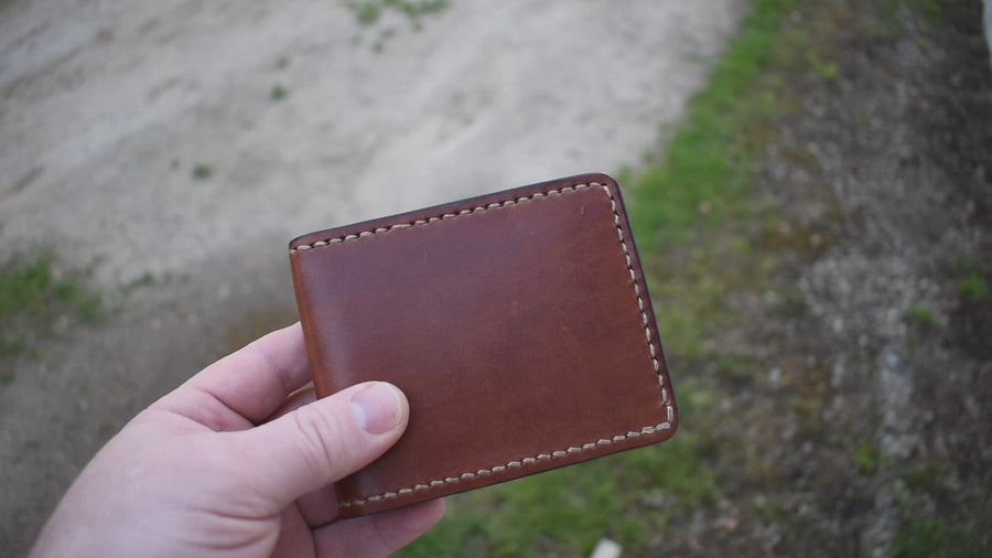 Cedar Wallet - Buck Brown Harness Leather- Hand Stitched
