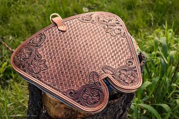 Hand Carved Floral Pistol Case - North Idaho Leather