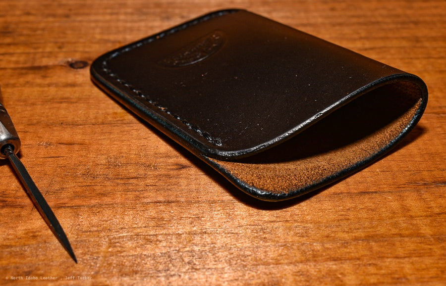No. 27 Slim Card Wallet Black Wax Tanned - North Idaho Leather