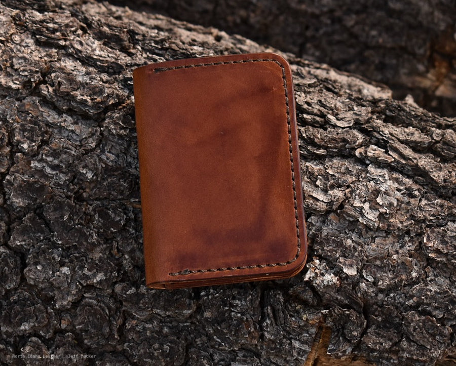 No. 67  Vertical Wallet  Buck Brown - North Idaho Leather