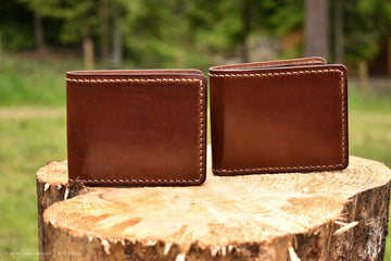 Cedar Wallet- Dark Brown Traditional Harness Leather - Hand Stitched - North Idaho Leather