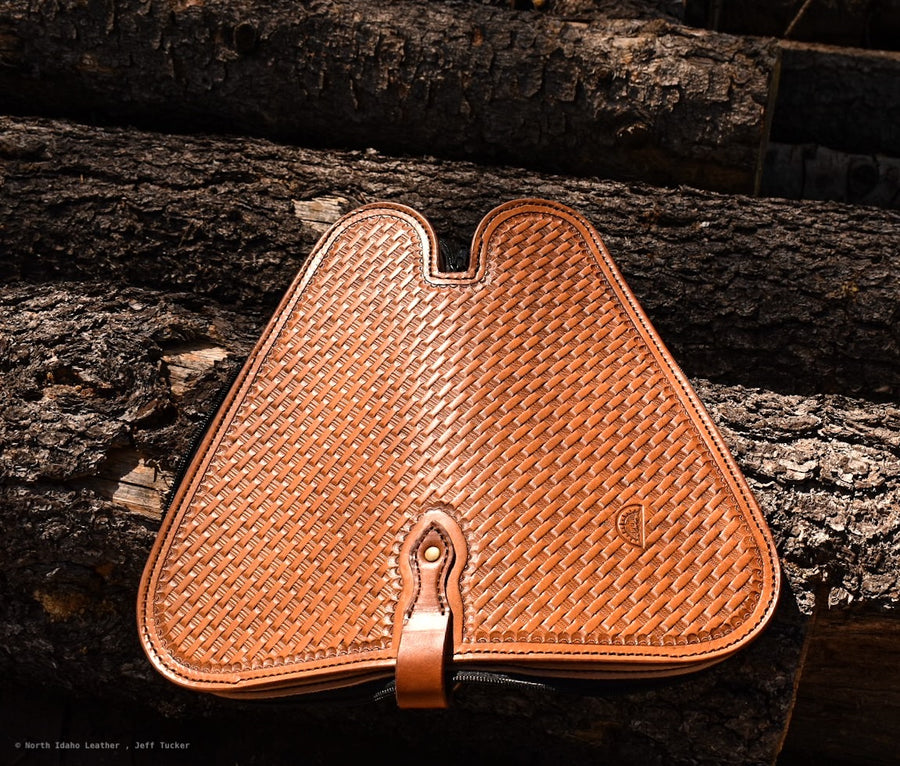 Basketweave Stamped Pistol Case - North Idaho Leather
