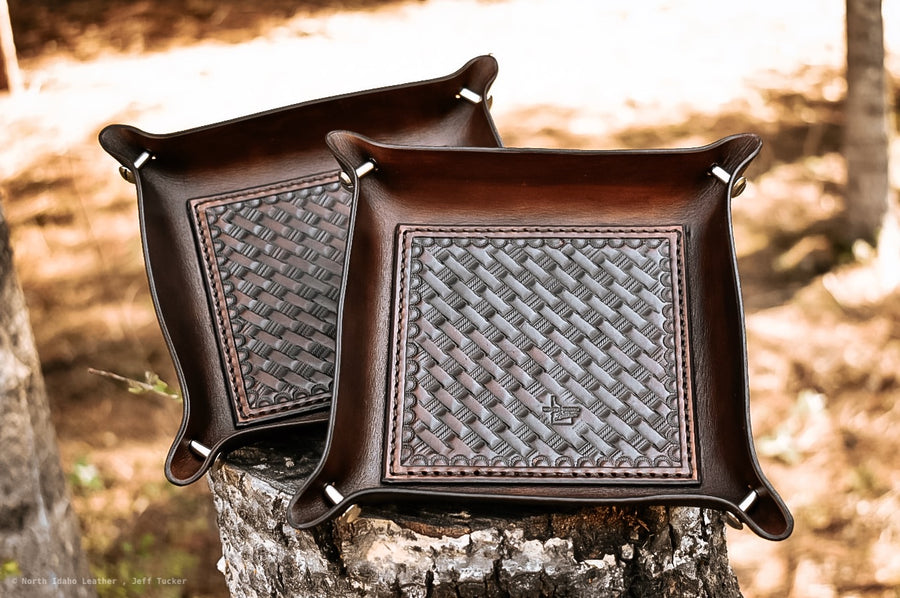Basketweave stamped EDC Valet Tray - North Idaho Leather