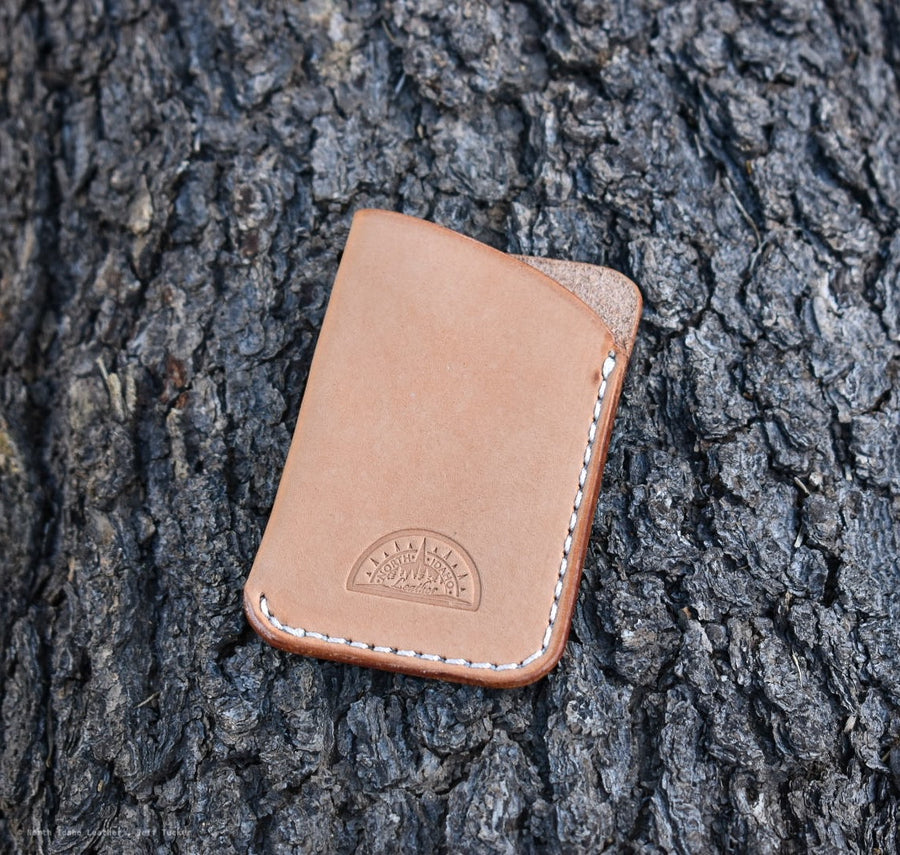 No. 27  Slim Card Wallet -Natural Oak Leather - North Idaho Leather