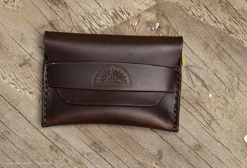 No.42 Minimal Flap Wallet Brown Horween Chromexcel - North Idaho Leather