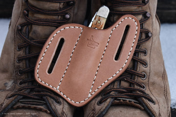 Belt Slide Knife Sheath - Plain Natural Veg Tan - North Idaho Leather