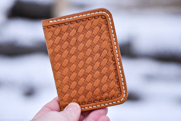 No. 67 Vertical Wallet Basketweave Russet Veg Tan - North Idaho Leather