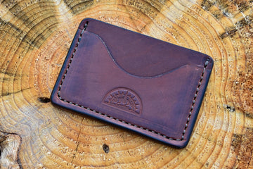 White Pine Card Wallet - Medium Brown Harness - North Idaho Leather