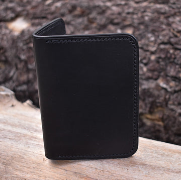 No. 67 Vertical Wallet Black English Bridle - North Idaho Leather