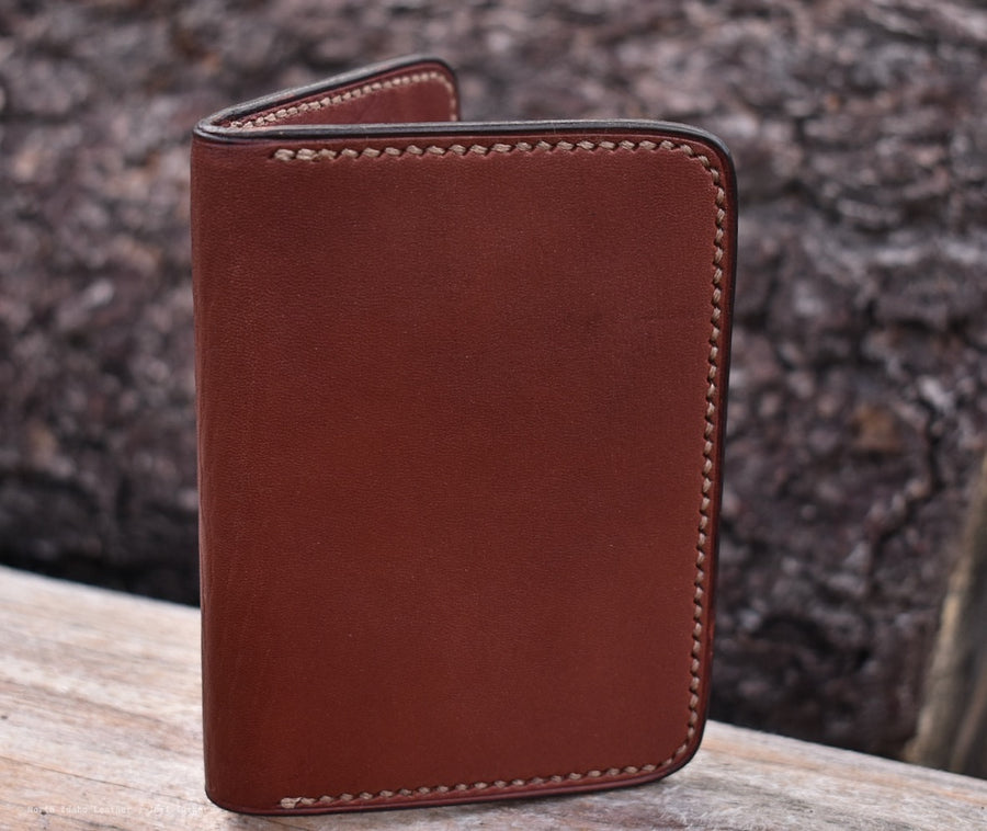 No. 67  Vertical Wallet Med Brown English Bridle - North Idaho Leather