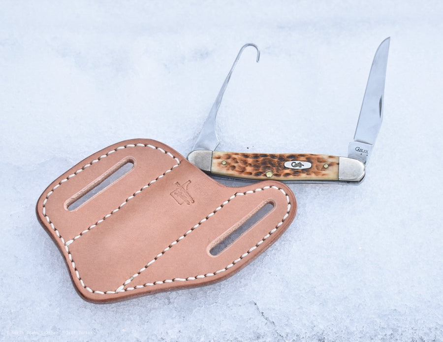Basket Weave Belt Slide Knife Sheath - North Idaho Leather