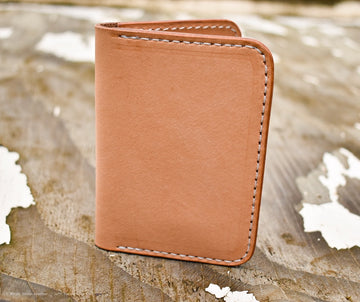 No.67 Vertical Wallet  Natural Oak - North Idaho Leather