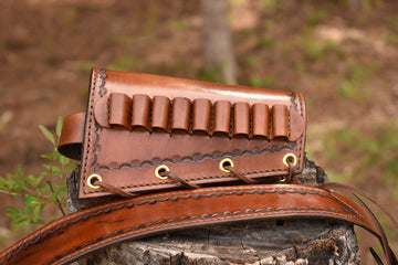 Cartridge Cuff - Border Stamped - North Idaho Leather