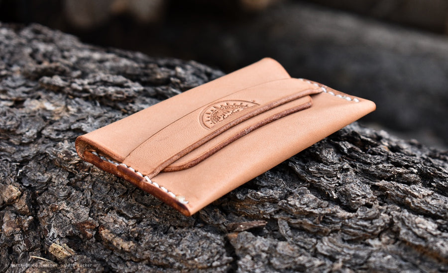 No.42 Minimal Flap Wallet  Natural Oak - North Idaho Leather