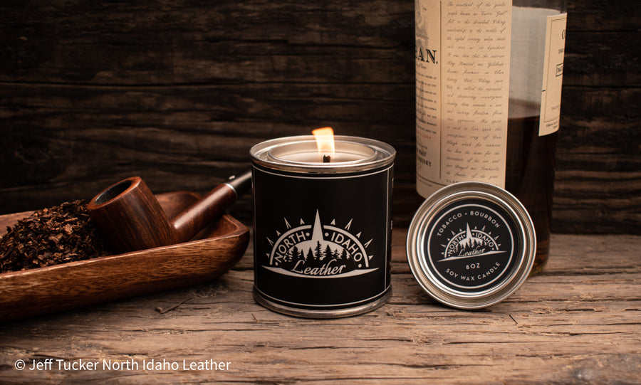 Hand Poured Soy Wax Candle - Tobacco and Bourbon - North Idaho Leather