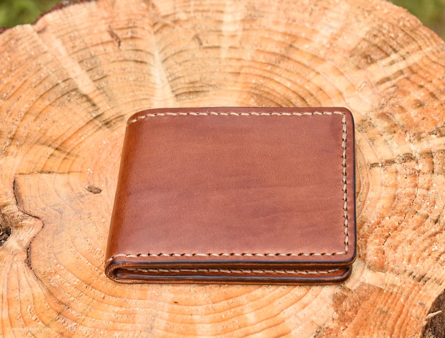 Cedar Wallet - Buck Brown Harness Leather- Hand Stitched - North Idaho Leather