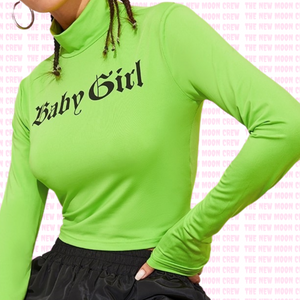 Neon Baby Turtle Neck Crop