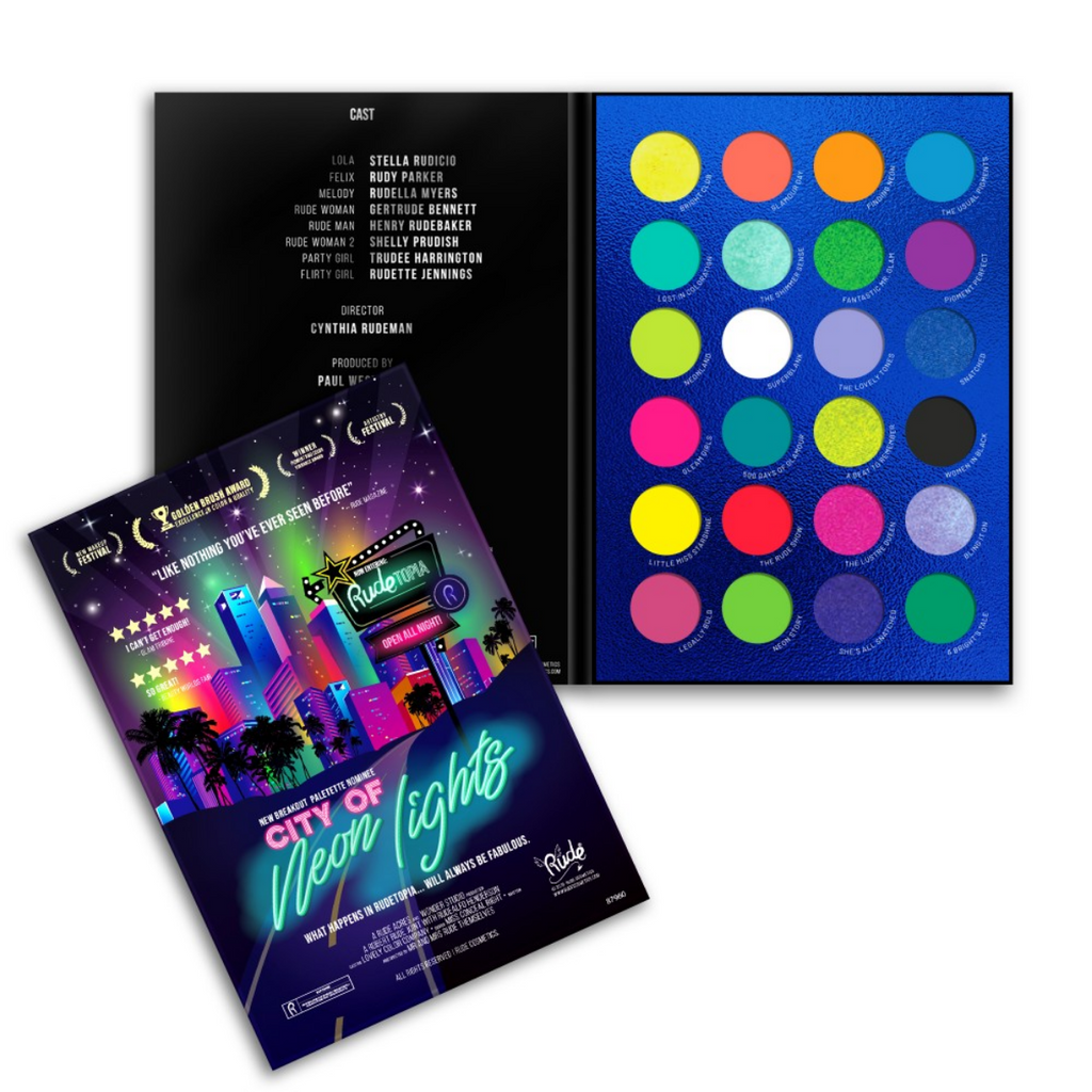 RUDE ✨ City of Neon Lights - 24 Vibrant Pigment & Eyeshadow Palette