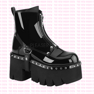 Ashes - Gloss Black Ankle Boot