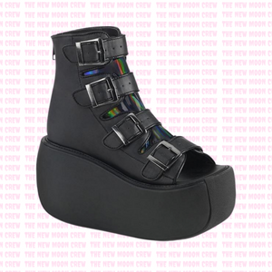 Violet - Black Hologram Platform Sandals