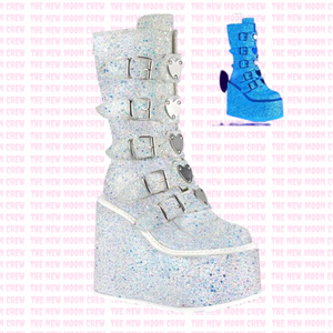 Swing - White Glitter Knee Boot