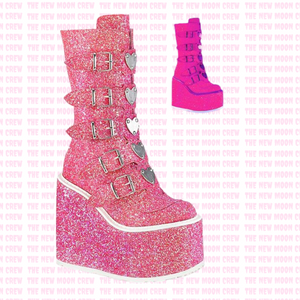 Swing - Pink Glitter Knee Boot