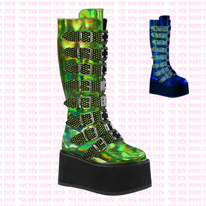 Damned - Lime Holograph Knee Boot