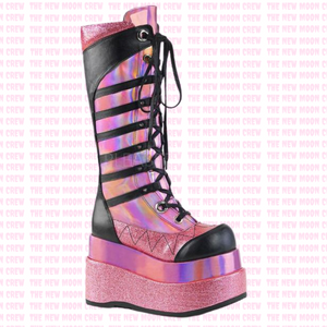 Bear - Pink Hologram Knee Boot