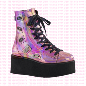 Grip - Pink Hologram Ankle Boot