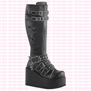 Concord - Black Rose Knee Boot