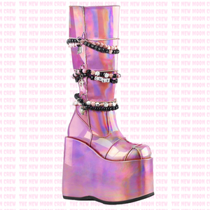 Slay - Pink Hologram Knee Boot